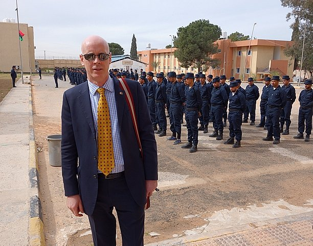 DR SHANE BRYANS REVIEWING TRAINING OF NEW RECRUITS IN TRIPOLI, LIBYA